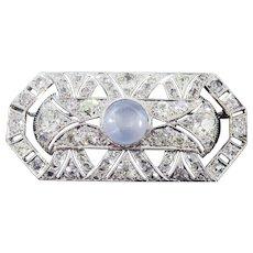 ULTIMATE 10.21 Ct. TW Diamond/Star Sapphire/Platinum Brooch, c.1910, w/GIA Valuation of $14,750.00!