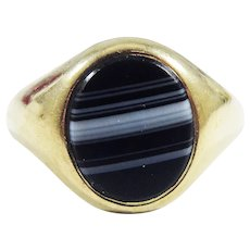 CLASSIC Unisex Victorian Banded Agate Signet Ring in 9kt Rose Gold, Full Hallmarks, 6.63 Grams, c.1899!