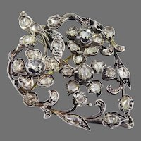 HEARTS AND FLOWERS! 4.48 CT. TW Late Georgian Diamond/Silver/9k Pendant/Brooch, c.1830, w/GIA Valuation of $12,000.00!