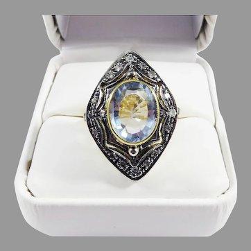 WOWEE! 5.62 Ct. TW Aquamarine/Diamond/12k Ring w/GIA Valuation of $7,500.00, c.1930!