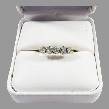 SUBLIME .60 Ct TW OMC  Five-Stone Diamond/Platinum/18k Stacking Ring, c.1880!