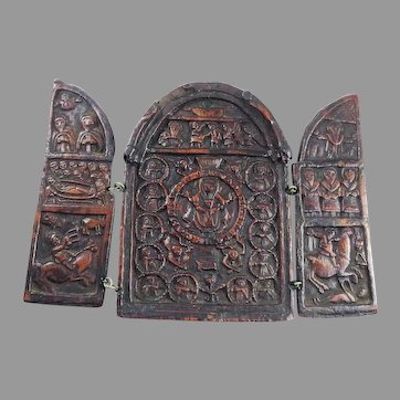 MASTERPIECE Russian Orthodox Red & Gold Lacquer/Wood Traveling Triptych, c.1700!