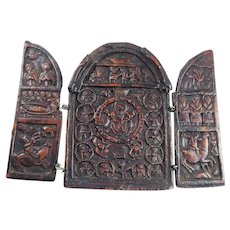 REMARKABLE Russian Orthodox Lacquer/Wood Traveling Triptych, c.1700!