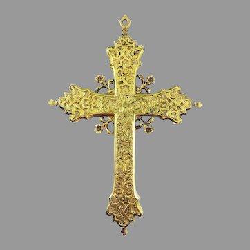 MASTERPIECE XL French Arabesque Jacobean Reliquary Cross Pendant, c.1610!