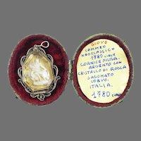 MASTERPIECE Italian Neoclassical Cameo of Jupiter in Rock Crystal/Silver Filigree Locket & Original Case, c.1780!