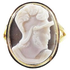 BARGAIN Unisex Georgian Agate Cameo/12k Ring, Roman Soldier, c.1805!
