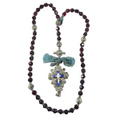 BEAUTIFUL Antique Italian Five Decade Garnet/Silver Filigree/Enamel Rosary, c.1770!
