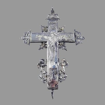 "HIGH BAROQUE 4 3/4"" Louis XIV Silver Reliquary Cross w/Maker's Marks, c.1671!"
