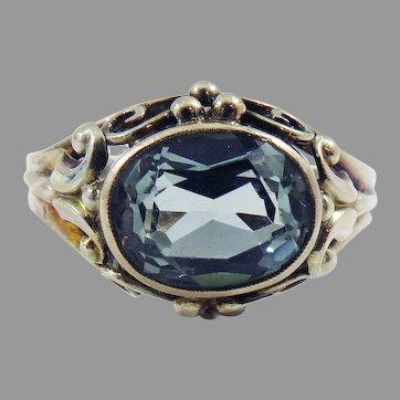 LOVELY German Art Deco 2.35 Ct. Teal Blue Spinel/8kt Ring, c.1935!