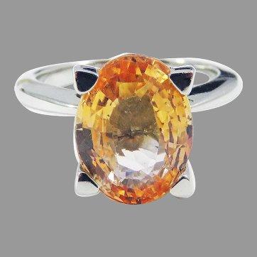 PHENOMENAL EGL Certified French 4.47 Ct. TW Natural Orange Sapphire/Diamond/Platinum Ring, c.1990!