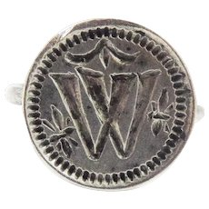 """RARE TUDOR Gentleman's Silver Signet Ring, """"W"""" w/Stars and Swag, c.1525!"""
