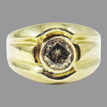 STELLAR Deco Unisex .68 Ct. Fancy Cinnamon Solitaire Diamond/14k Ring, c.1935!