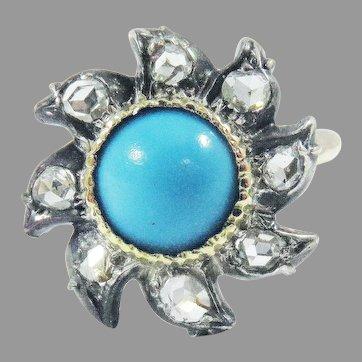 PRETTIEST Hand-Wrought Rose Cut Diamond/Persian Turquoise/14k Pinwheel Ring, c.1860!
