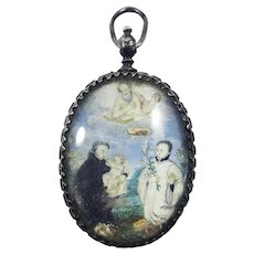 MUSEUM-QUALITY Double-Sided Rock Crystal Reliquary Pendant w/Two Miniatures on Vellum, c.1620!
