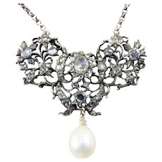 MAGICAL Georgian 2.55 Ct TW Rose-Cut Diamond/Pearl/Sterling/14k Necklace, c.1780!
