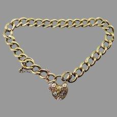 "ULTIMATE 8"" Edwardian Enamelled 14k Padlock and Key Bracelet, 9.31 Grams, c.1905!"
