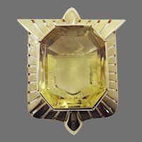 "MAGNIFICENT XL George III Citrine ""Clan Dewar"" Armorial Intaglio Set in Custom-Made 14k Shield Pendant, c.1770/1950!"