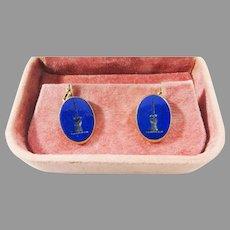 SMASHING Antique Lapis Lazuli Armorial Intaglio/14k Cufflinks, c.1900!
