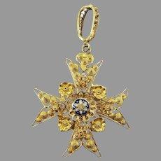 SO FRESH Portuguese Cannetille and Spun 19.5 Ct. Gold/Enameled Maltese Cross Pendant, 7.72 Grams, c.1810!