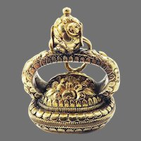 A DANDY'S DELIGHT! XL Late Georgian Heavily Cased 15k Gold/Agate Fob Seal w/15k Gold Bails, c.1830!