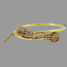 NEAR MINT Victorian 18k/Coral Etruscan Revival Bracelet, 13.34 Grams, c.1875!