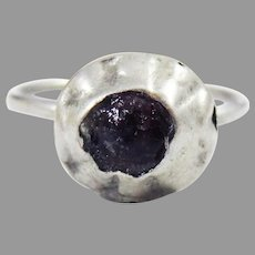 """MUSEUM-WORTHY Medieval English Silver/Amethyst """"Tart Mold"""" Ring, c.1200 AD!"""