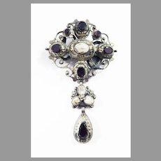 """PRETTY BARGAIN!  2 1/2"""" Mid-Georgian Silver Garnet/Agate Drop Brooch, c.1755/1800!"""