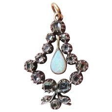 SUBLIME 1.4 CT TW Georgian Table-Cut Diamond/Opal/Sterling/15k Pendant, c.1750/1890!