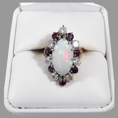 TIMELESS Estate 3.76 Opal/Ruby/Diamond/14k Cocktail Ring w/GIA Valuation of $3,300.00, c.1950!