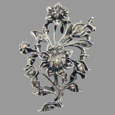 SWEETEST BARGAIN: Georgian Diamond/Sterling Floral Spray Brooch, c.1800!