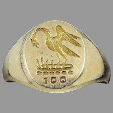"""AMAZING Edwardian 14k Gentleman's """"Pelican in Her Piety"""" Intaglio/Stewart Clan Centennial Signet RIng, c.1905!"""