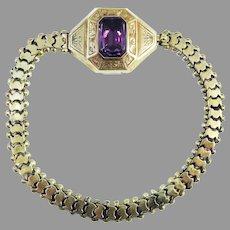 """FROM JOHN TO AMADA"" Superb 7"" American 4 Ct. Amethyst/14kt Sentimental Bracelet w/Inscription, c.1855!"