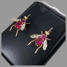 TIME FLIES: Pristine Estate Lab Ruby/Natural Diamond/14k Rose- And White Gold Fly Earrings, c.1960s!