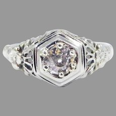 SWEETEST .22 Ct. Transitional OEC Diamond Solitaire/18k Ring, c.1920!