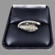 FABULOUS Hand-Wrought  .95 Ct TW Pave-Set Diamond/Ruby/Sterling Serpent Ring, c.1895!