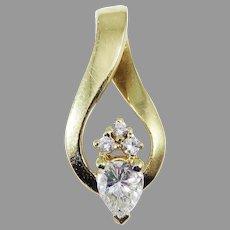 LOVELY Estate .56 Ct TW Diamond/14k Ribbon Pendant w/GIA GG Valuation of $2,500.00!