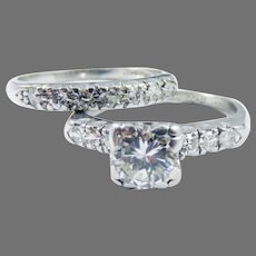 DREAMY 1.29 Ct. TW Diamond/Platinum Wedding Ring Set w/$7,500.00 GIA Valuation, c.1920!