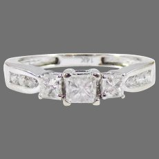 """EXQUISITE .75 Ct. TW Princess-Cut Diamond """"Stacking"""" or Guard Ring w/GIA Valuation of $2,000.00 c.1990!"""