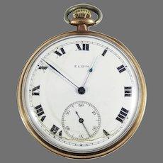 CLASSIC Elgin 17j 14kt Rose Gold Filled Pocket Watch, Running, c.1917!
