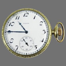 DASHING Unisex 14k GF Elgin 15j Pocket Watch, Running, c.1921!