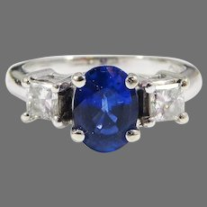 TOP-QUALITY 1.44 Ct. TW Natural Sapphire/Princess Cut Diamond/14k Ring w/GIA GG Valuation of $5,000.00!