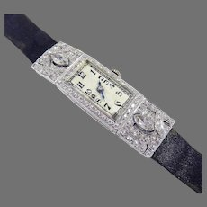 TIMELESS Early Art Deco 1.91 Ct. TW Diamond/Platinum Wristwatch w/GIA GG Valuation of $5,200.00, c.1920!
