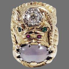 MASTERPIECE Hand-Made 8.54 Ct. TW OEC Diamond/Star Sapphire/Emerald/Ruby/15k Gargoyle Ring c.1940, w/GIA Valuation of $17,525.00!