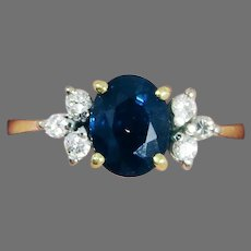 CLASSICALLY ELEGANT Estate 1.39 Ct. TW Natural Sapphire/Diamond/14kt Ring w/GIA GG Valuation of $2,000.00!