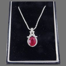 OUTSTANDING Kallati 5.74 Ct. TW Ruby/Diamond/14k Necklace with GIA GG Valuation of $11,500.00!