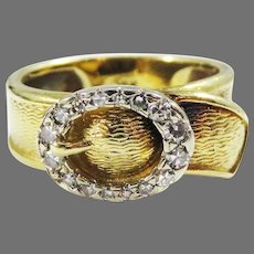 WOW! Early Hammerman Brothers Signed Buckle Ring in 18k/Diamonds, 6.41 Grams, c.1955!