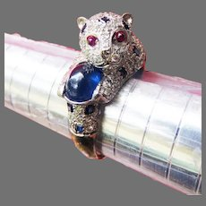 ME-WOW! AMAZING 2.82 ct. TW Diamond/Sapphire/Ruby/18k Panther Cub Ring, 9.71 Grams, w/GIA GG Valuation of $6,250.00, c.1995!
