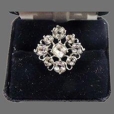 RARE AND REGAL 6 Ct. TW Georgian Cruciform Rock Crystal/Sterling Ring, c.1755!