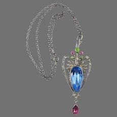 COLORFUL BEAUTY! Rare Art Nouveau Multicolored Paste/Sterling Pendant Necklace, Hallmarks, c.1905!