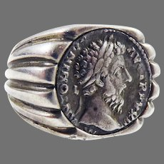 OUTSTANDING Ancient Roman Silver Denarius of Antonius Pius Set in Modern Sterling Ring, c.145 AD!